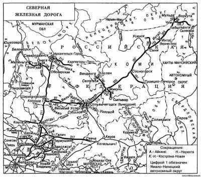 Схема Северной железной дороги